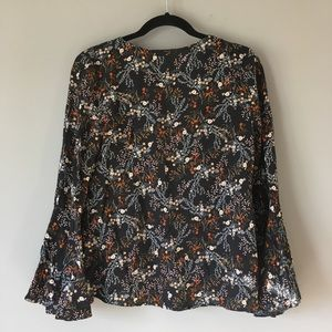 Entro | Fall Floral Blouse Embellished Top Blouse